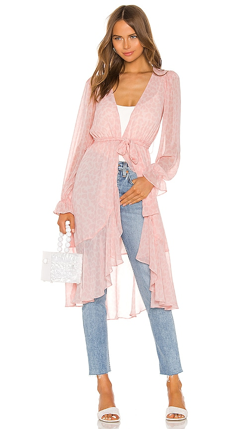 Ruffle Duster With Peasant Sleeve