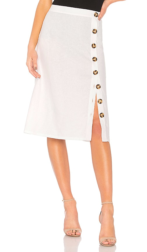 LPA Button Up Midi Skirt in White