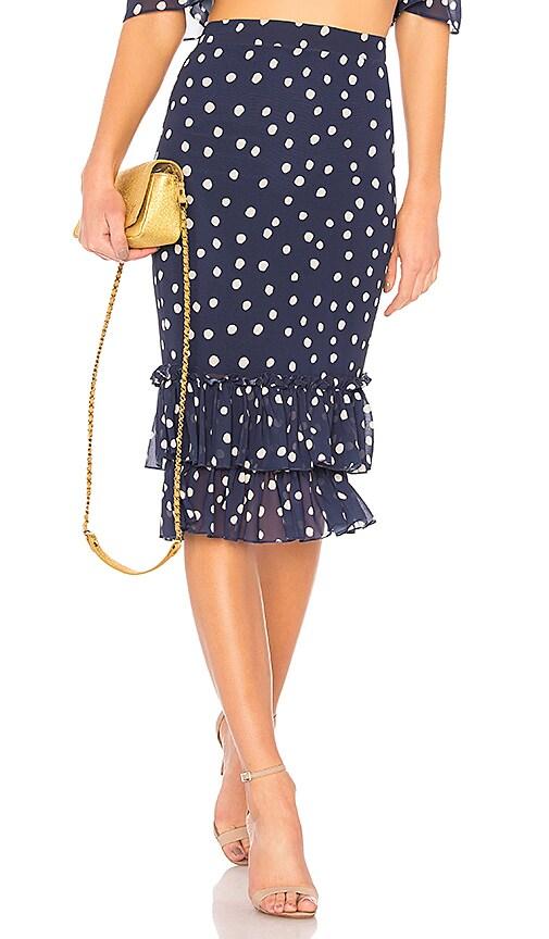 LPA High Waist Ruffle Skirt in Navy