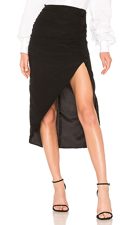 LPA Shirred Skirt W/ High Slit in Black