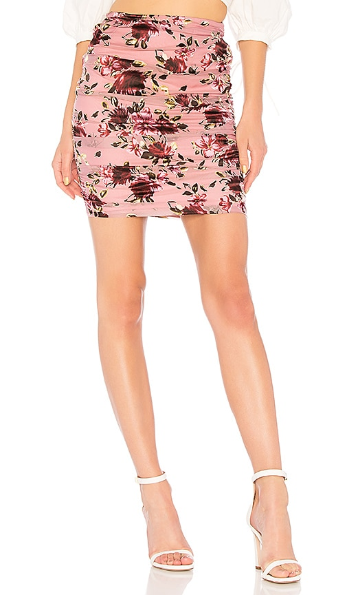 LPA Ruched Skirt in Mauve
