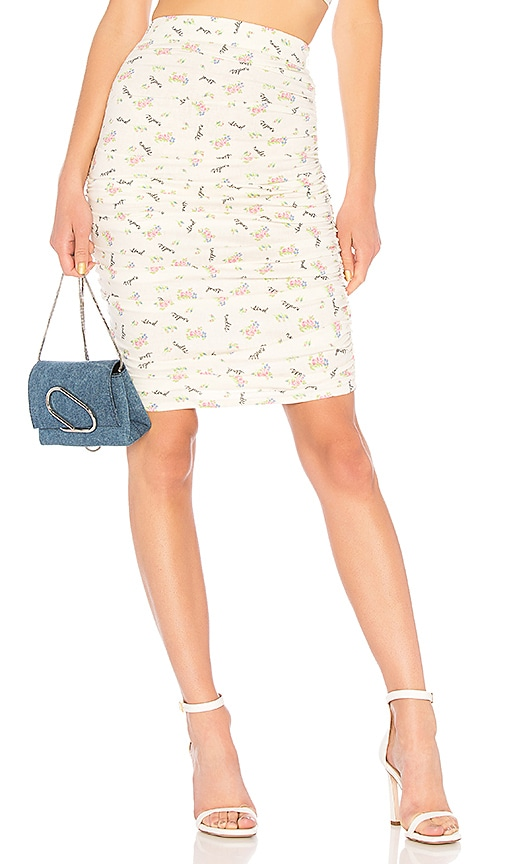 LPA Shirred Skirt in Ivory