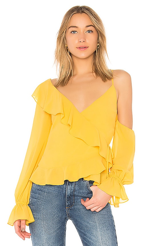 LPA Asymmetrical Ruffle Wrap Top in Yellow