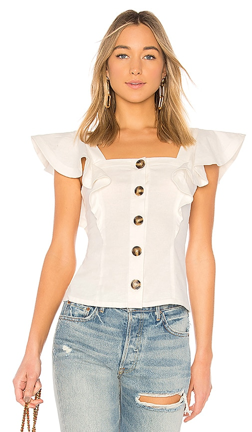 LPA Button Up Ruffle Tank in White
