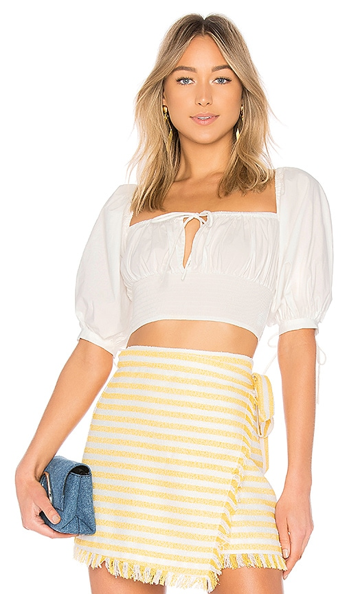 LPA Puff Sleeve Peasant Top in White