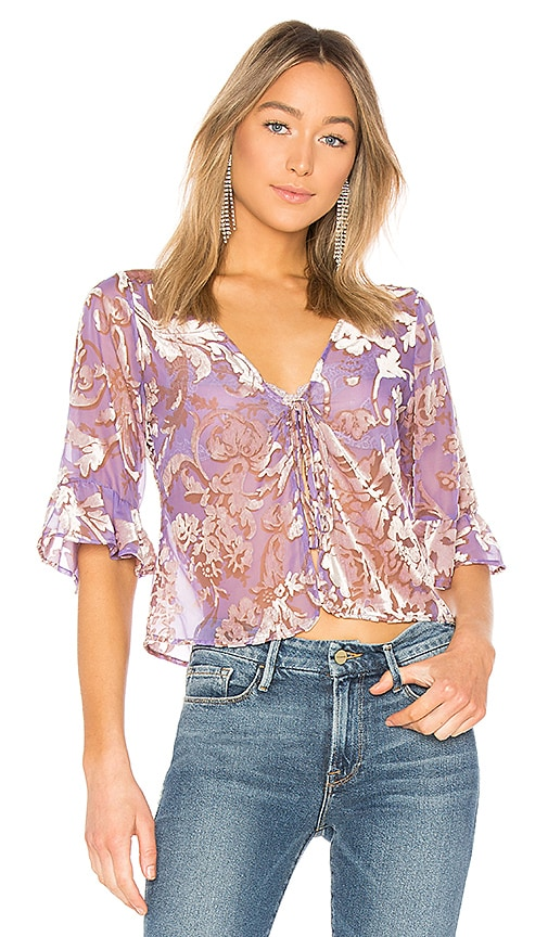 LPA Tie Front Top in Purple