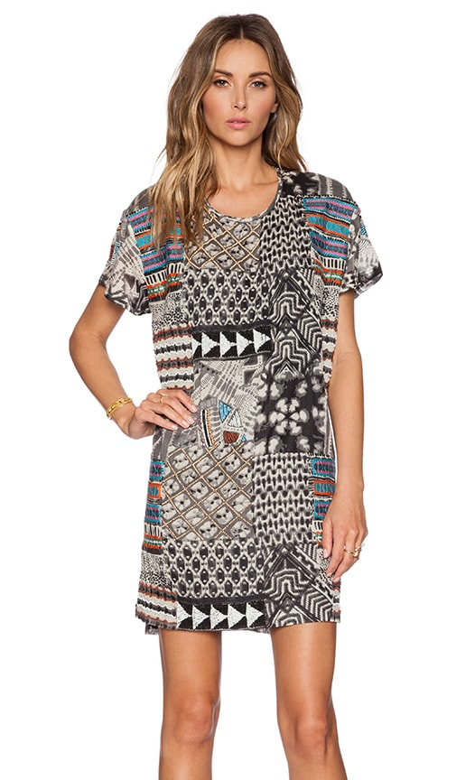 Love Sam Kiera Embellished T Shirt Dress in Black & Grey