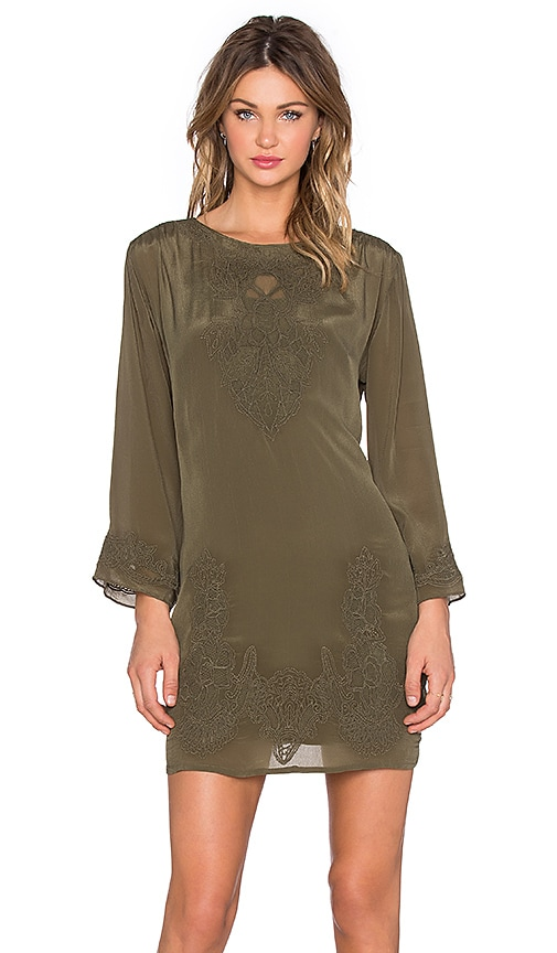 Love Sam Shawl Embroidered Mini Dress in Olive