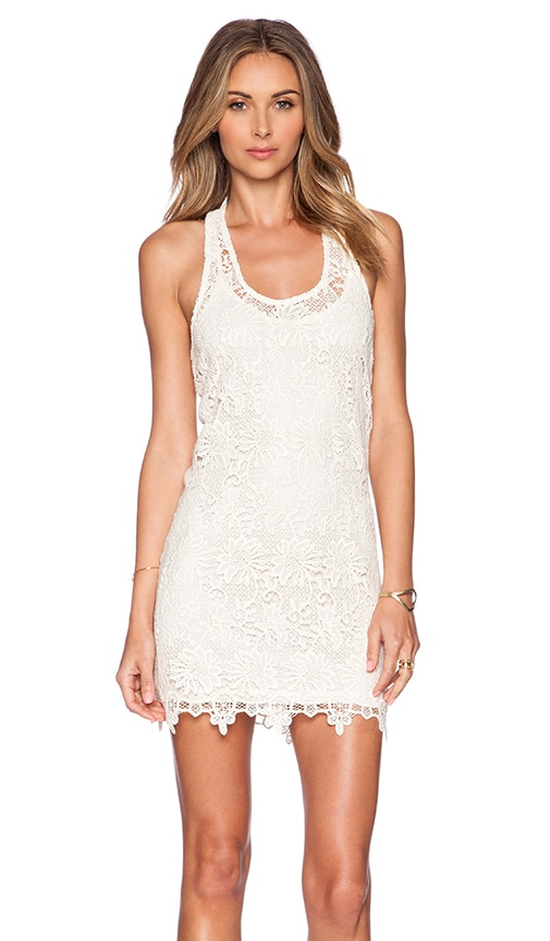 L*SPACE Sylvie Lace Mini Dress in Beige