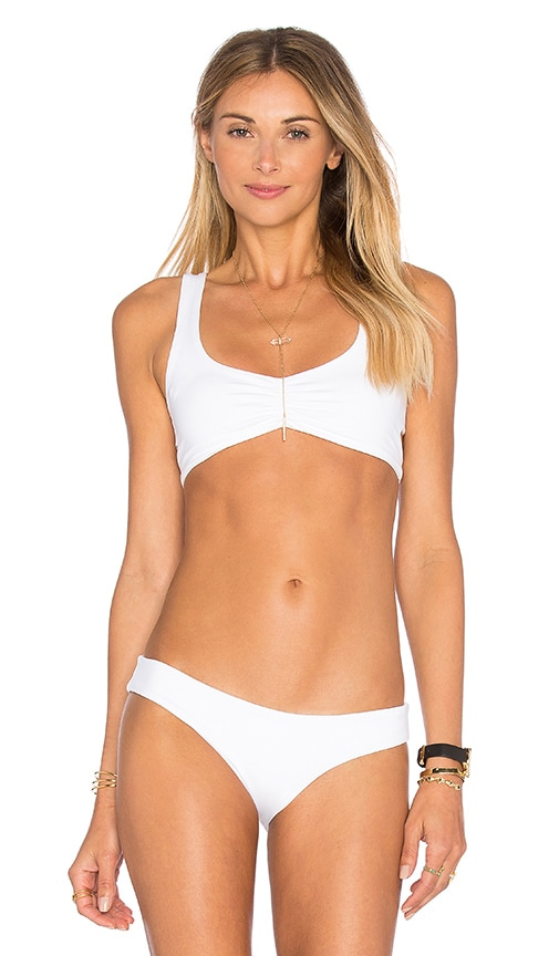 L*SPACE Lively Cross Back Bikini Top in White