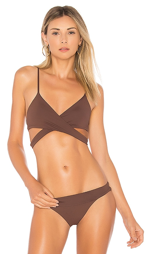L*SPACE Rocky Wrap Top in Brown