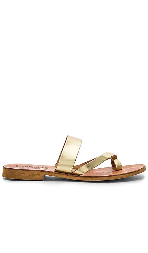 L*SPACE Iris Slide Sandal in Metallic Gold