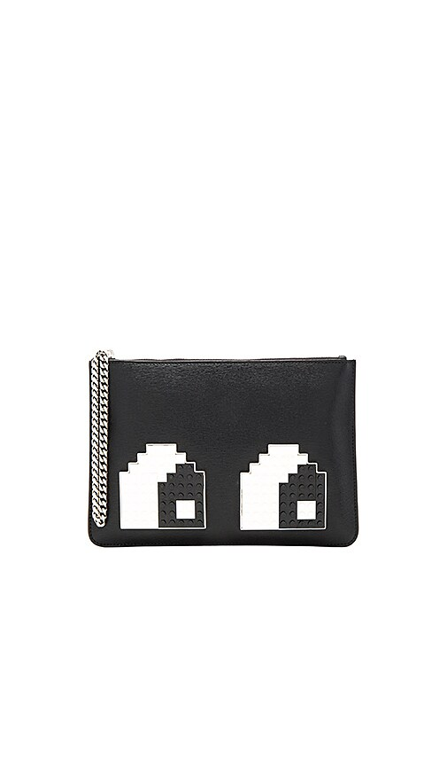 les petits joueurs Envelope Small Eye Clutch in Black