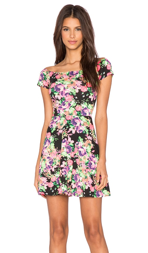 Lucca Couture Off The Shoulder Dress in Black Floral