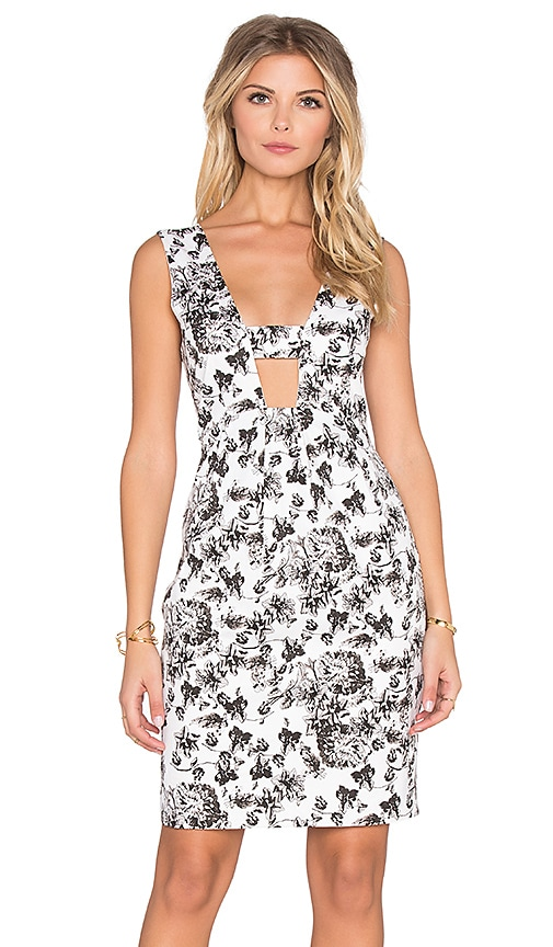 Lucca Couture Hardwoven High Waist Dress in Off White & Black Vintage Floral