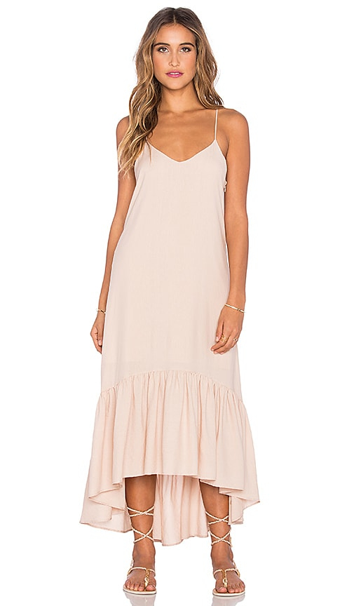 Lucca Couture Crepe Voile Ankle Length Flounce Dress in Dusty Peach