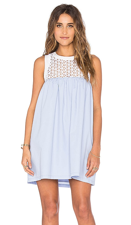 Lucca Couture Eyelet And Poplin Mix Tank Dress in Blue