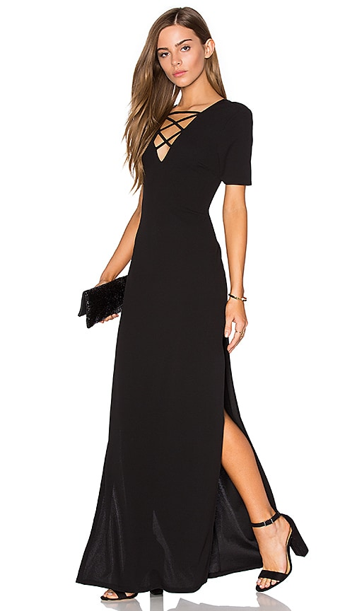 Lucca Couture High Slits Lace-Up Maxi Dress in Black