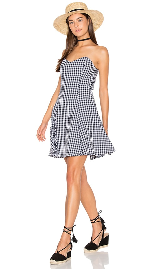 Lucca Couture Fitted Strapless Dress in Black & White Gingham