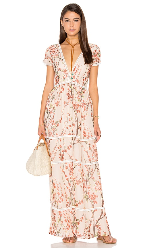 Lucca Couture Deep-V Maxi Dress in Tan