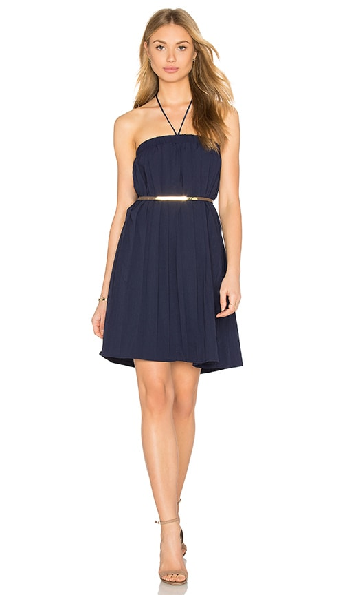 Lucca Couture Halter Linen Gauze Dress in Navy