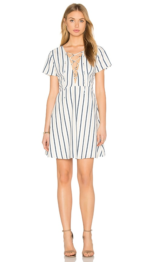 Lucca Couture Lace-Up Dress in White, Navy,& Mango Stripe
