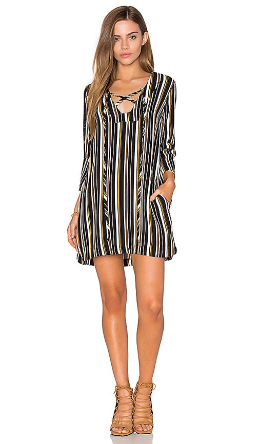 Lucca Couture Lace Up Bell Sleeved Shift Dress in Navy White & Mango Stripe