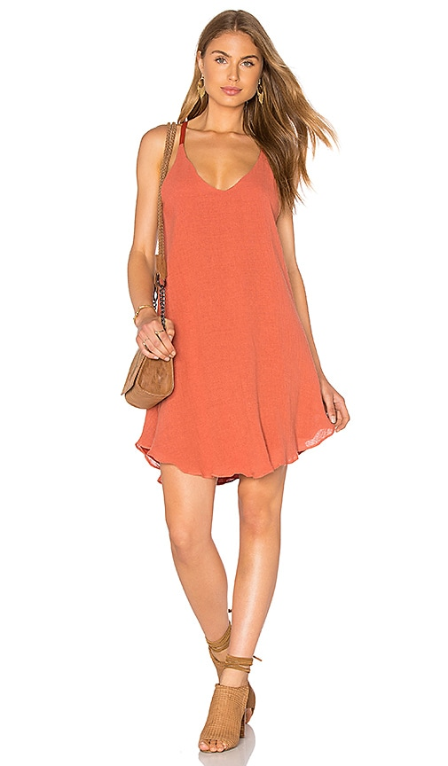 Lucca Couture Round Hem Tank Dress in Burnt Orange