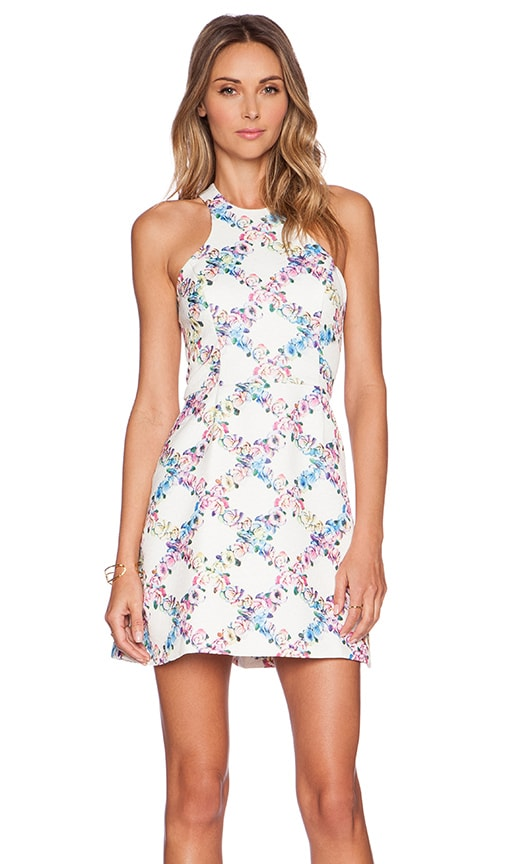 Lucca Couture Floral Mini Dress in Ivory Floral