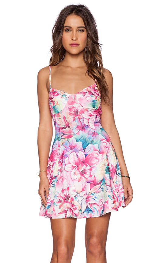 Lucca Couture Floral Dress in Magenta Lily