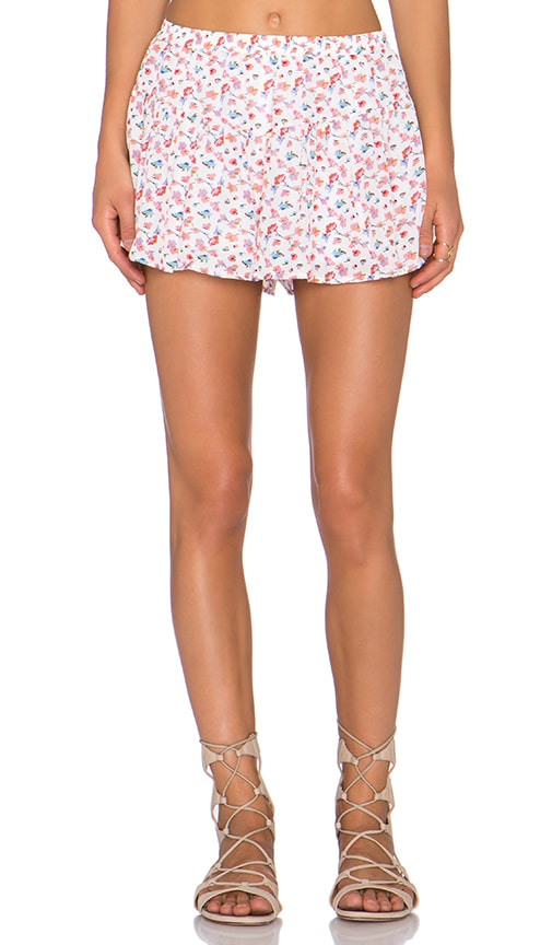 Lucca Couture Jogger Shorts in Ivory Floral