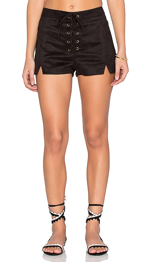 Faux Suede Lace Up Notched Shorts