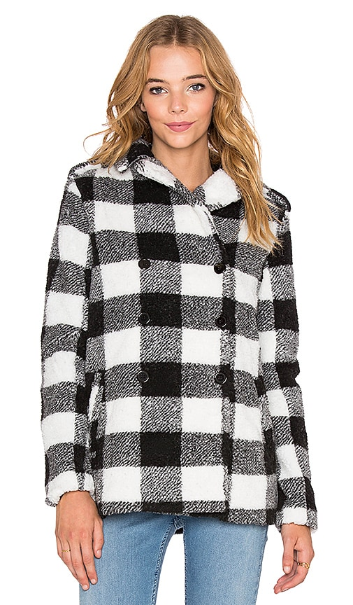 Lucca Couture Plaid Jacket in Black & White