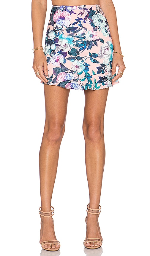 Lucca Couture x REVOLVE Ruffle Hem Mini Skirt in Pink Floral