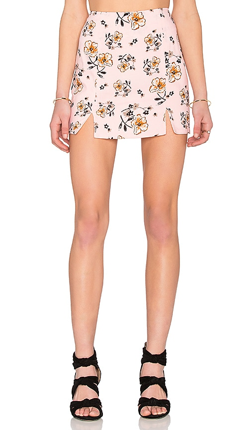 Lucca Couture Rayon Challis A Line Skirt in Pink Floral
