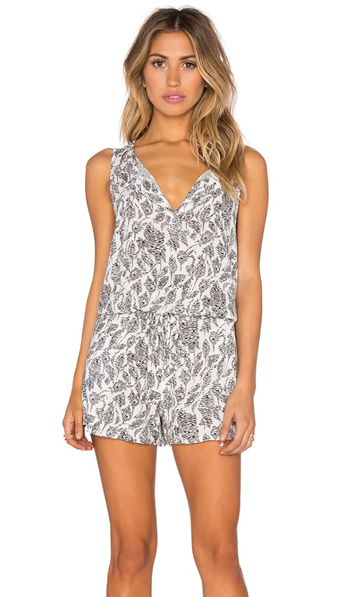 Lucca Couture Sketch Woven Tank Drawstring Romper in White