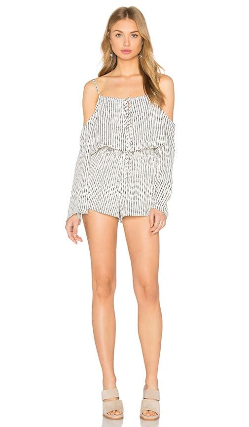 ce5da4a581d Lucca Couture Cold Shoulder Romper in White Dotted Stripes