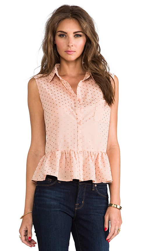 Cut Out Sleeveless Button-down