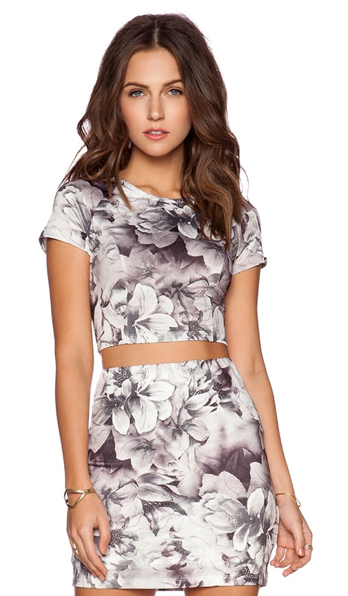 Lucca Couture Cropped Top in Black White Lily