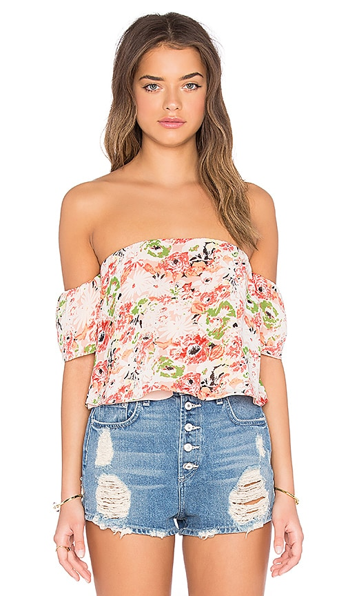 fcbb8a0353550 Lucca Couture Printed Off Shoulder Crop Top in Peach   Poppy Floral ...