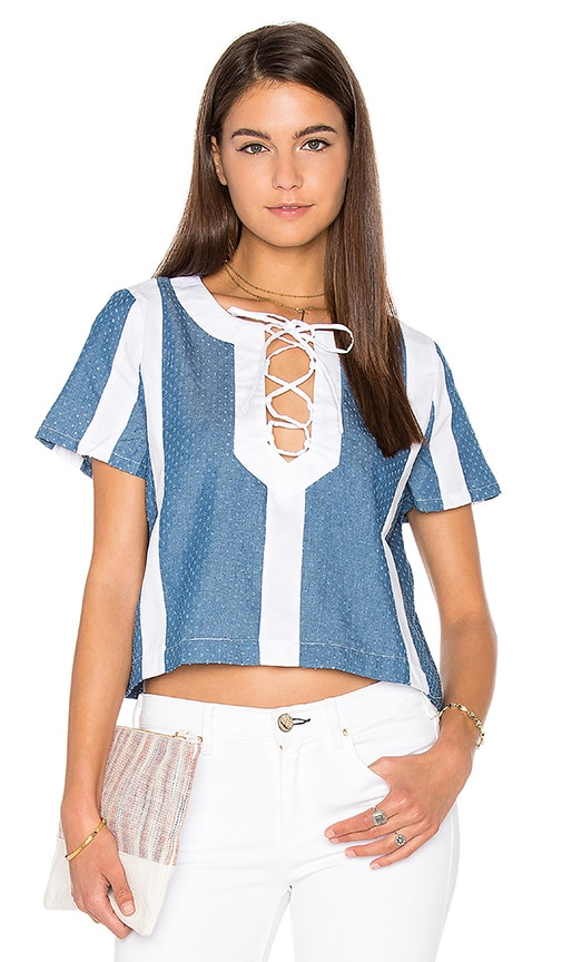 Lucca Couture Textured Denim Combo Lace-Up Top in Blue