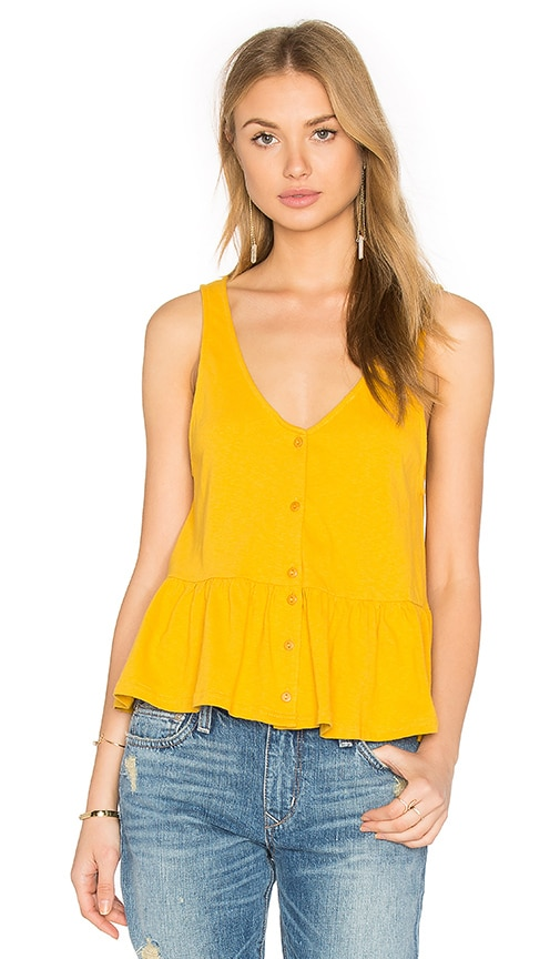Lucca Couture Button Front Tank in Yellow