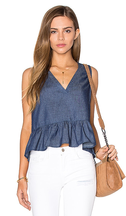 Lucca Couture V Neck Peplum Tank in Navy
