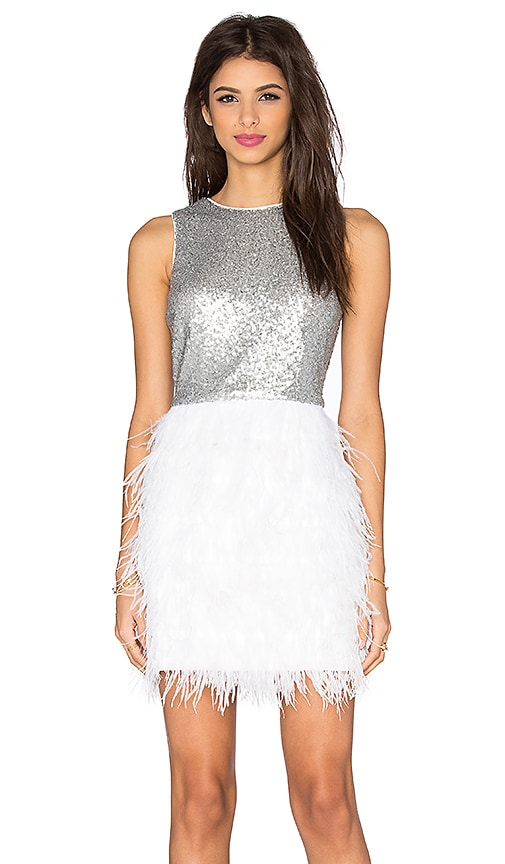 Lucy Paris Masquerade Shift Dress in Silver & White