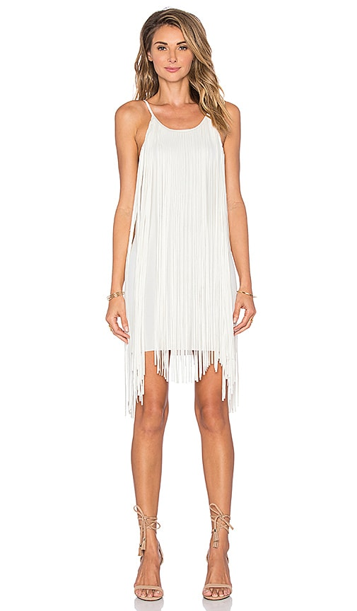 Lucy Paris Indi Fringe Dress in White