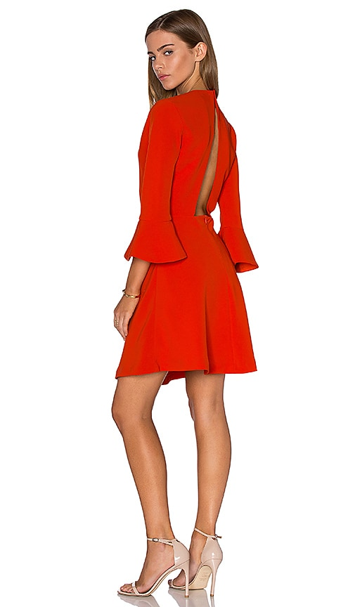 Lucy Paris Bell Sleeve Dress in Orange