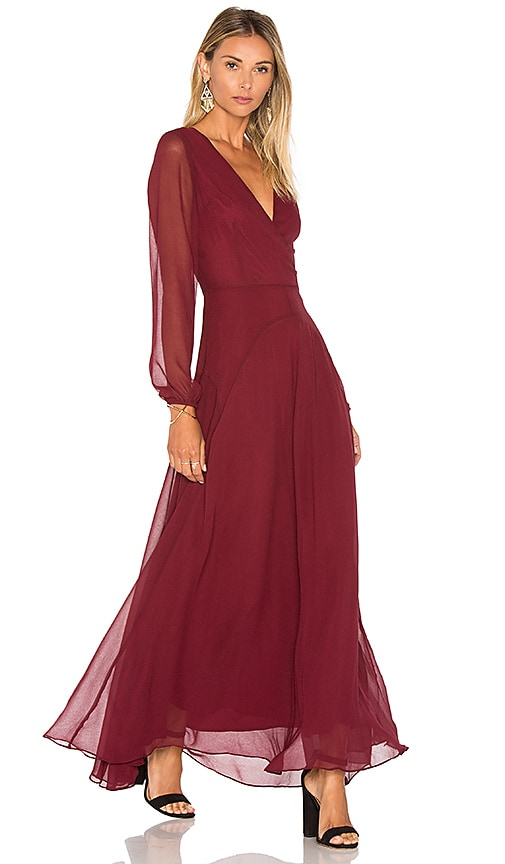 Lucy Paris Carolina Maxi Dress in Burgundy