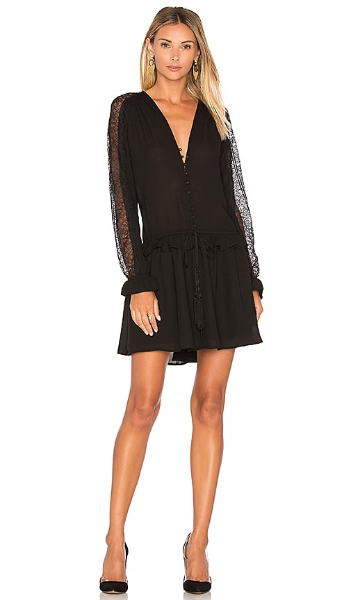 Lucy Paris Tricia Button Up Dress in Black