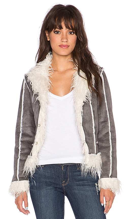 Lucy Paris Faux Shearling Jacket in Grey