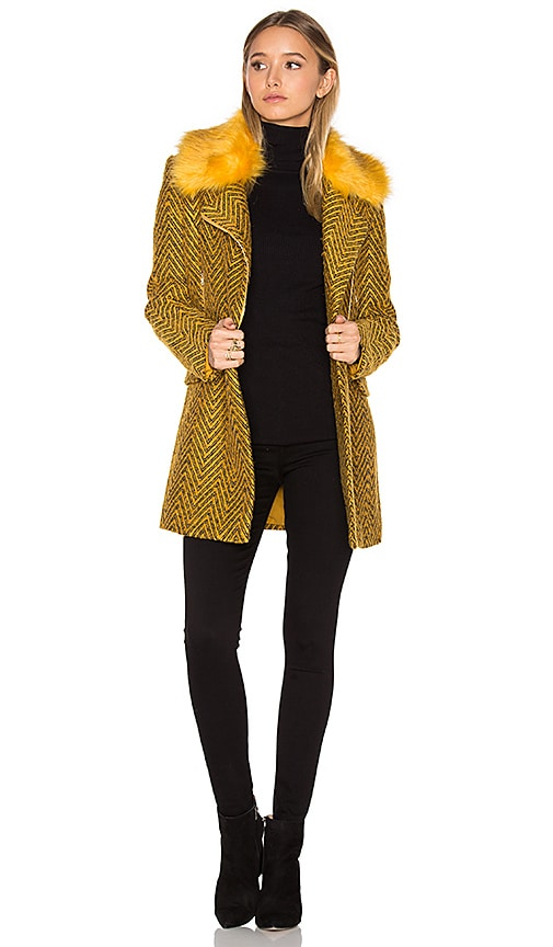 Lucy Paris Berly Faux Fur Coat in Yellow